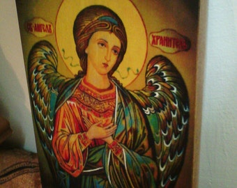 """Guardian Angel icon hand-painted of hot colors directly on solid wood 18x24x2 см ( 7.0""""x 9.6""""x0.8"""" ) (not brushes)!"""