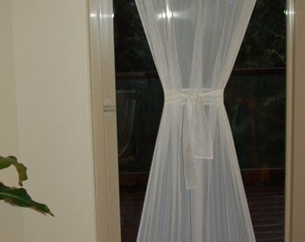 40'' Wide Ivory/Cream or White Sheer Voile Door Curtain Panel with two Rod Pockets and custom Lengh With Matching Tie Back