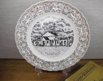 Vintage Church Plate - Indian Creek Church of Christ - Saint Brides, Virginia - Black and White - Gold Filigree