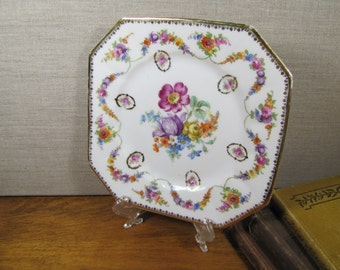 Schumann - Square Plate - Floral Pattern - Gold Accent - Made in Bavaria, Germany