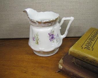Porcelain Creamer - Purple Flowers - Gold Accents