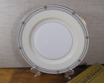 Thun - Bohemia - Porcelain Dessert Plate - Creamy White and Pale Yellow - Gold and Black Geometric Design - Made in Czechoslovakia