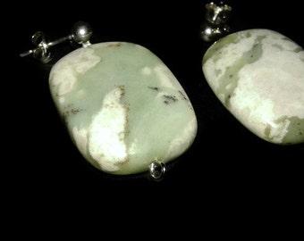 Sterling Silver, Peace Jade, Peace Jade Earrings, Jade Earrings, Jade Post Earrings, Jade Jewelry, Jade, Natural Jade, Natural Peace Jade