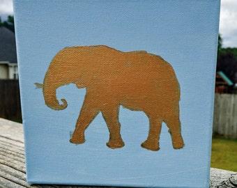 6x6 Gold Elephant Canvas