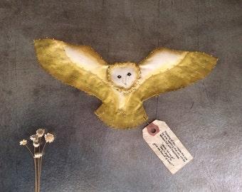 Angel owl / Alba(Yellow)... small owl,Paint,embroidery,barn owl,handmade