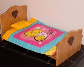 "Handcrafted 18"" Doll Bed"