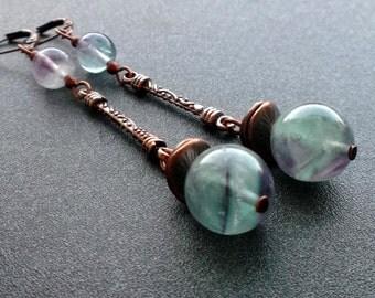 earrings FLUORITE. earrings green purple. NATURAL fluorite. earrings Dangle. earrings stones. green purple FLUORITE.earrings for you.for her