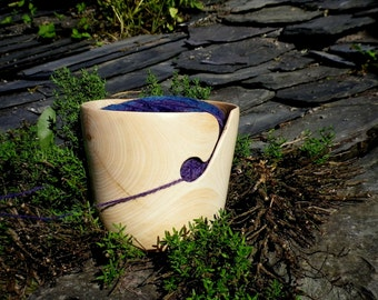 "Seconds Wooden Yarn Bowl- Hand Turned Ash Wood. 5"" inch diameter"