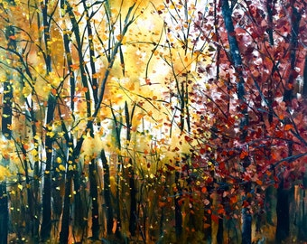 """Autumn's Blush, 16"""" x 20"""", Original Oil Landscape Painting by Stephanie Siemieniuk, fine art, Northern, forest, autumn colours, yellow, red"""