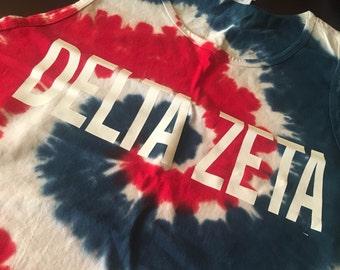 MEDIUM Red/White/Blue Delta Zeta Tie Dye Bro Tank