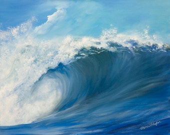 Big Surf Wave Ocean Painting Print