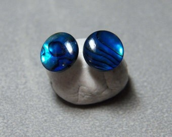 6mm or 8mm Blue Paua Abalone Post Earrings with Sterling Silver