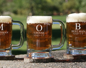 8 Personalized Beer Mug / Groomsmen Gifts / Beer Glass with Handle / Custom Engraved Mug / Etched Glassware - 16 DESIGNS