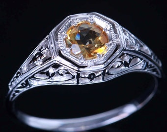0.92cts Natural Yellow Citrine Solitaire Filigree Ring. Citrine is November Birthstone!