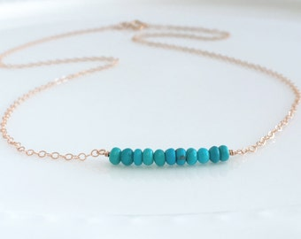 Rose Gold Turquoise Layering Necklace - Tiny Turquoise Necklace - Sleeping Beauty Turquoise - Rose Gold Layering Necklace - Celebrate Fall