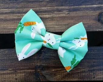 Aqua bunnies hair clip headband