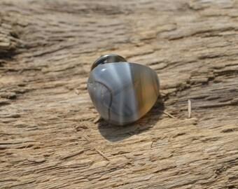 Tumbled Grey Botswana Agate Stone Tie Tack