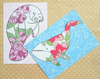 PAIR of 5x7 Manatee and Whale prints