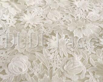 White Fabric 3D Flower Scallop Lace Fabric Dress Lace Fabric Bridal Wedding Dress 1 Yard S0284