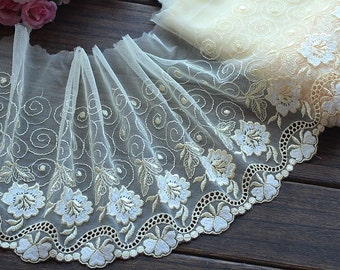 High Quality Yellow Floral Embroidered Lace Trim  Tulle Lace Trim 7.87 Inches Wide 2 yards X0146