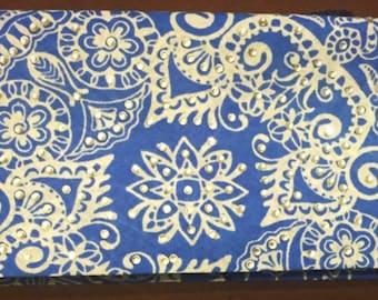 Blue Oriental Design Bling Bandana