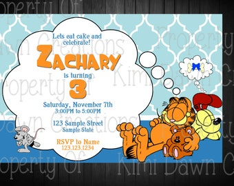 Garfield Birthday Invitation, Digital Delivery. Custom
