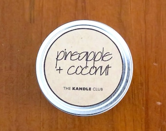 Pineapple + Coconut: Travel Tin 4oz (Natural Soy Wax Candle)