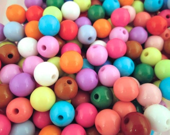 12mm Bubble Gum Beads, Multicolor Chunky Gumball Beads
