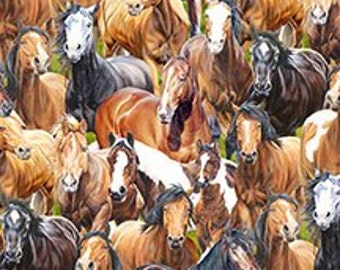 Wild At Heart Horses Allover from Wilmington Prints By the yard