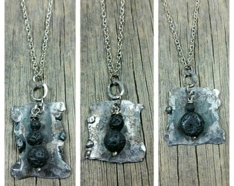 Hammered Steel Lava Stone Essential-Oil Diffusing Necklace / aromatherapy / handmade/sterling silver