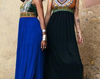 Tribal Long Dress Blue -Maxi Dress Boho