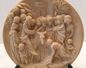 A Santangela Limited Edition Collectible Plate~ L Ingress Di Cristo In Gerusalemme  ~ Christ Entry into Jerusalem ~ Made in Italy
