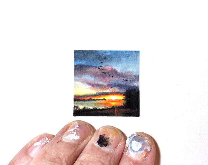 "Print of miniature painting of an Alabama Sunrise . 1 1/4"" x 1 1/4"" print of original Alabama Sunrise painting on german etching paper"