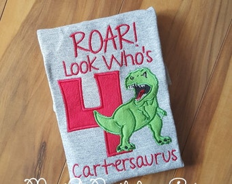 Dinosaur Birthday Shirt Applique Any Age and Name