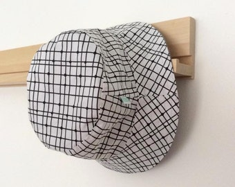 Monochrome Grid Baby and Childrens Summer Bucket Hat