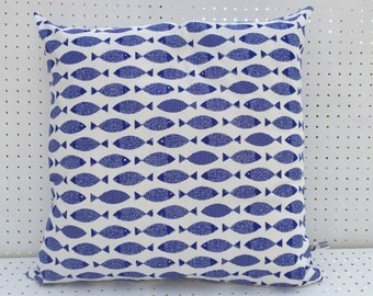 Scandinavian Nordic Style Herring Cushion Cover. Blue fish Cushion cover. Decorative Cushion, Coastal Cushion Cover, Made in Cornwall.