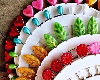 Pretty Pearlised Sewing Pins - Heart, Flower, Leaf, Teardrop
