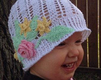Toddler Sun Hat with Flowers