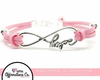 Breast Cancer Bracelet | Survivor Bracelet | Infinity Hope Bracelet |  Breast Cancer Charm Bracelet | Breast Cancer Awareness Jewelery