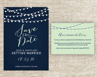 Navy Blue and Mint Green String Light Wedding Save the Date with Matching Accommodation Card