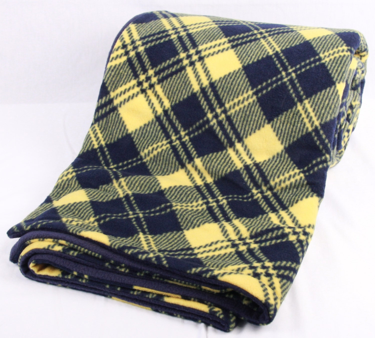 Blue And Gold Plaid Fleece Blanket Double Sided Blanket