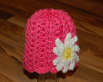 ON SALE Pink Daisy Girl Hat/Beanie