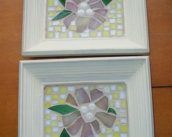 "Set of 2--6"" by 7"" SHABBY Chic Mosaic flower Wall Art,Picture,yellow, white,beige,green,Pink flowers,glass mosaics,plaque,wild flowers"