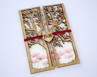 laser cut tree wedding invitation | etsy, Wedding invitations