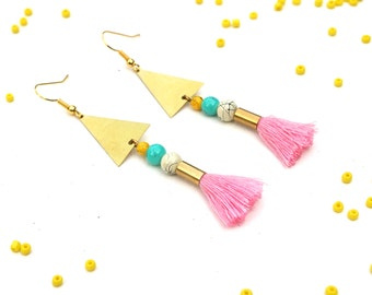 Pink Tassel Earrings Mother's Day Gift For Her, Cute Boho Earrings For Chic Fashion, Pink Jewelry For Coachella Look / MINNIE PINK