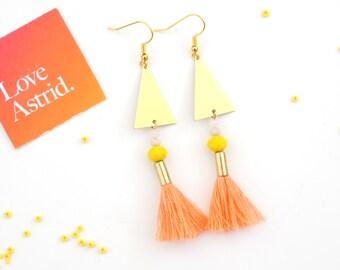 MAKEFORGOOD / PEACHY // Peach Tassel Earrings, Tassel Earrings, Bohemian Earrings, Cute Earrings, Pastel Jewellery, Kawaii Earrings