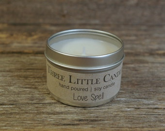 Love Spell Soy Candle - Hand Poured - 4oz Tin w/Clear Lid