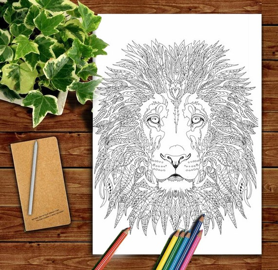 Lion Coloring pages Printable Adult Coloring book Lion by ...
