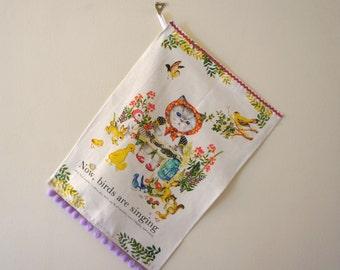 Kitty Cat Decorative Tea Towel with Pom Poms