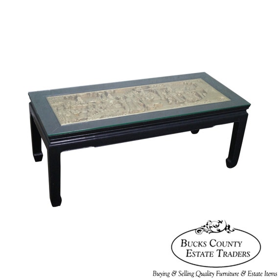 Vintage Black & Gold Chinese Coffee Table W/ Carved Relief
